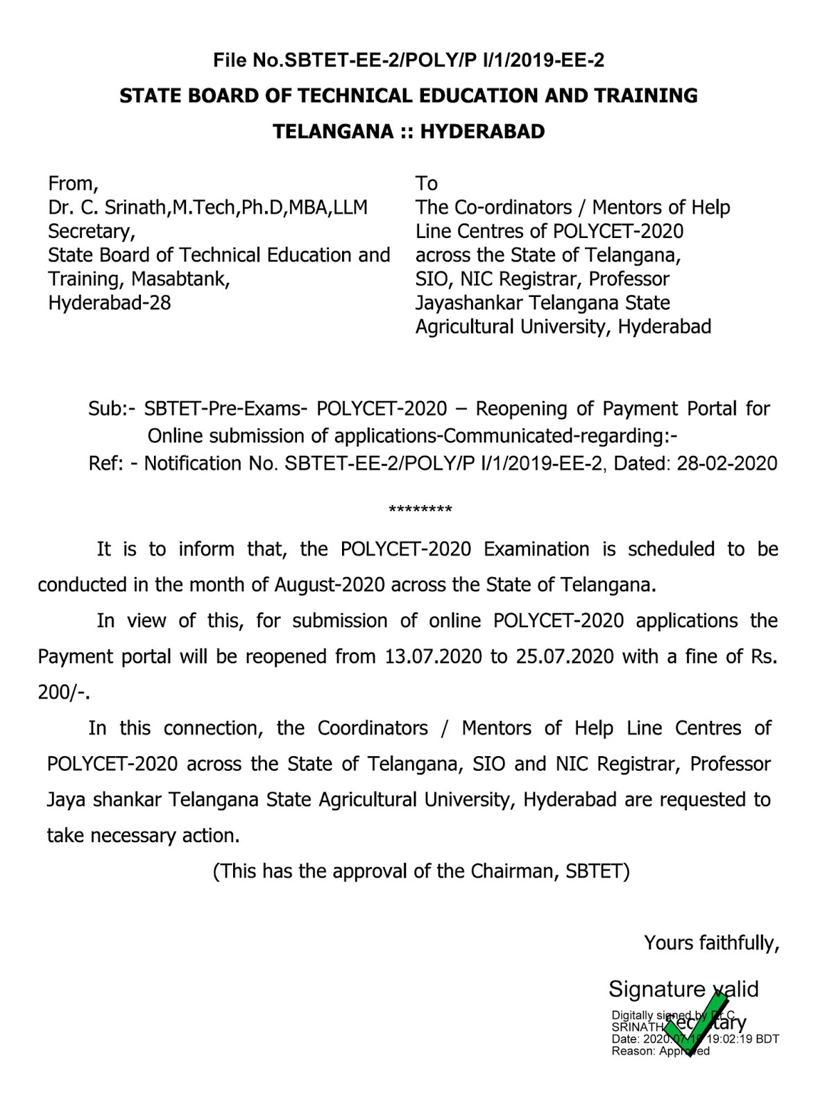 TS Polycet 2020 Reopening of Payment Portal Applications the payment Portal
