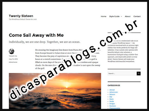 Carregamento do Template Twenty Sixteen para WordPress