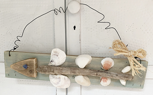 fish bones using shells with wire hanger