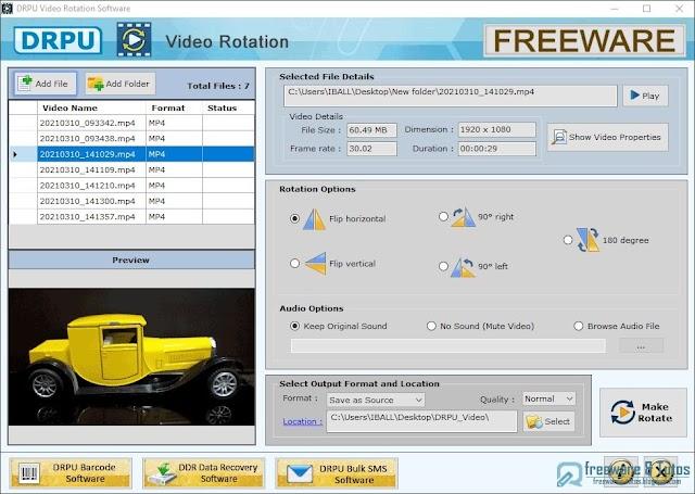 DRPU Video Rotator : un logiciel gratuit pour faire pivoter les vidéos