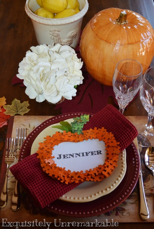 Thanksgiving Place Card from puzzle pieces on set table
