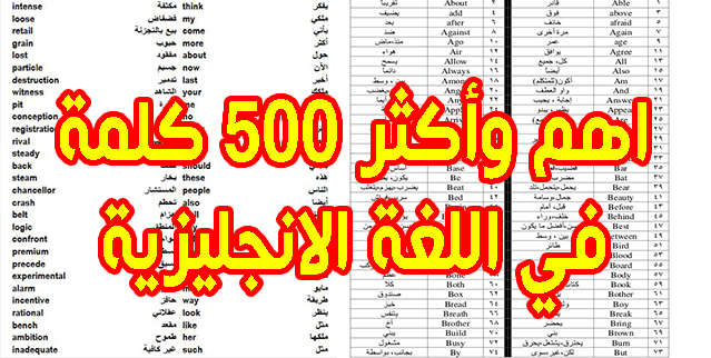 في 7 صفحات اهم وأكثر 500 كلمة استعمالا في اللغة الانجليزية PDF