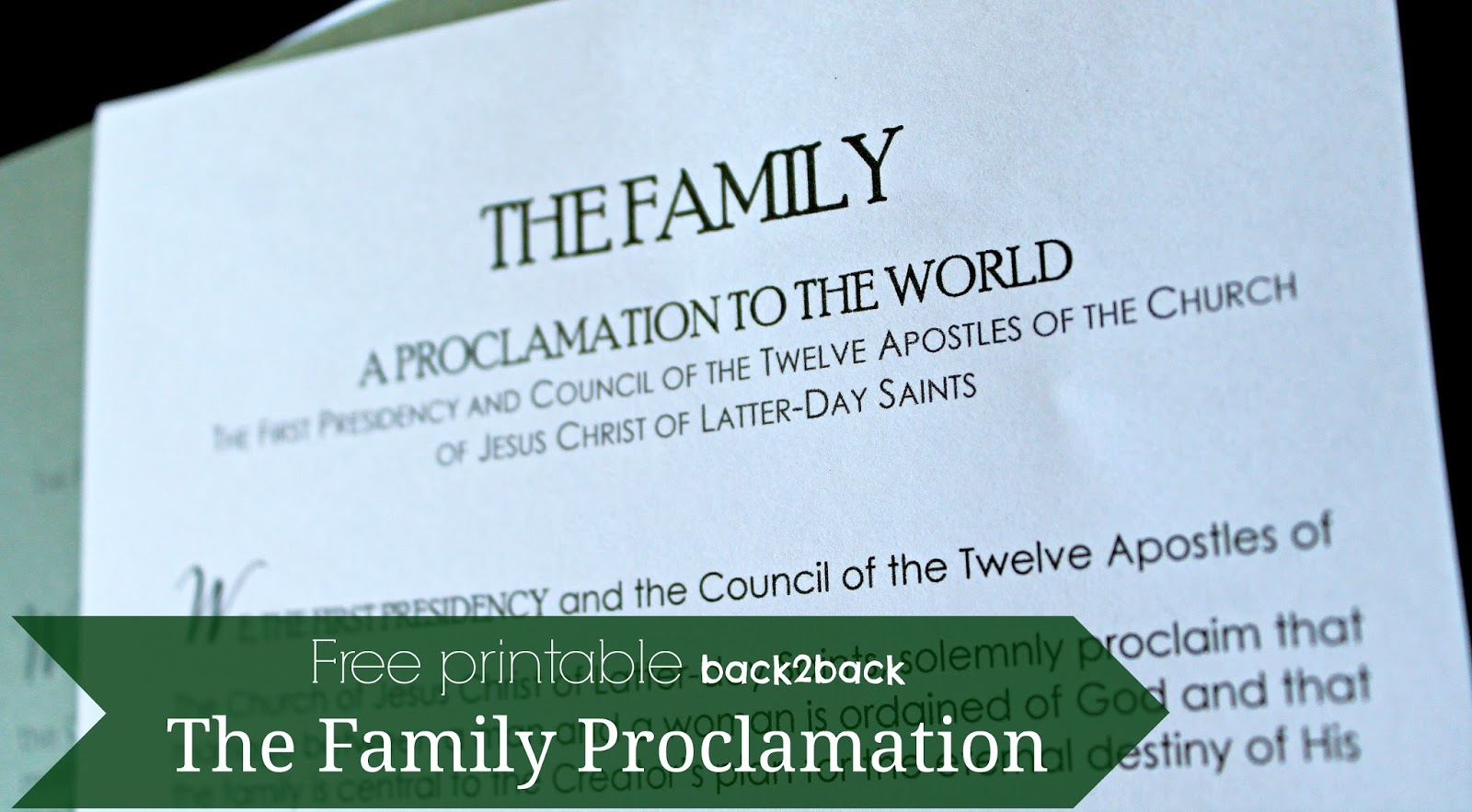 photo relating to Family Proclamation Printable called Newly Accomplished: The Spouse and children Proclamation -- Cost-free Printable