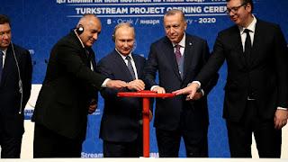 أردوغان وبوتين يفتتحان مشروع السيل التركي في إسطنبول