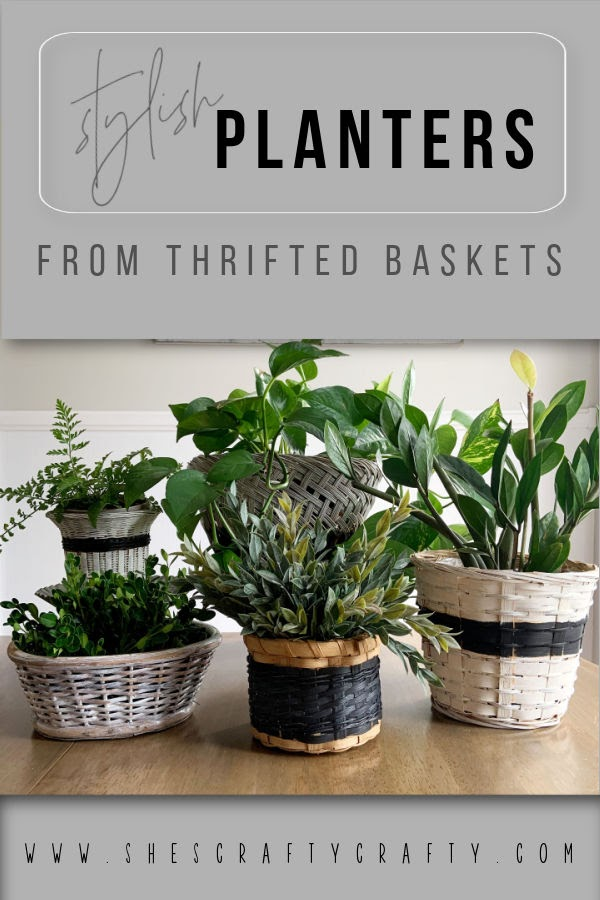 Stylish Planters made from Thrift Store baskets  |   She's Crafty