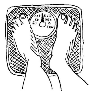 "feet on a scale. The arrow on the scale points between ""not so fit"" and ""could lose a few."""
