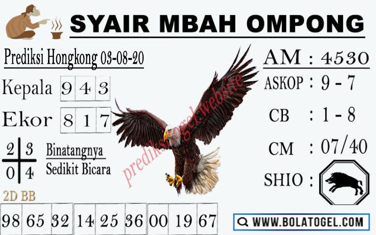 syair hk mbah ompong 3 agustus 2020