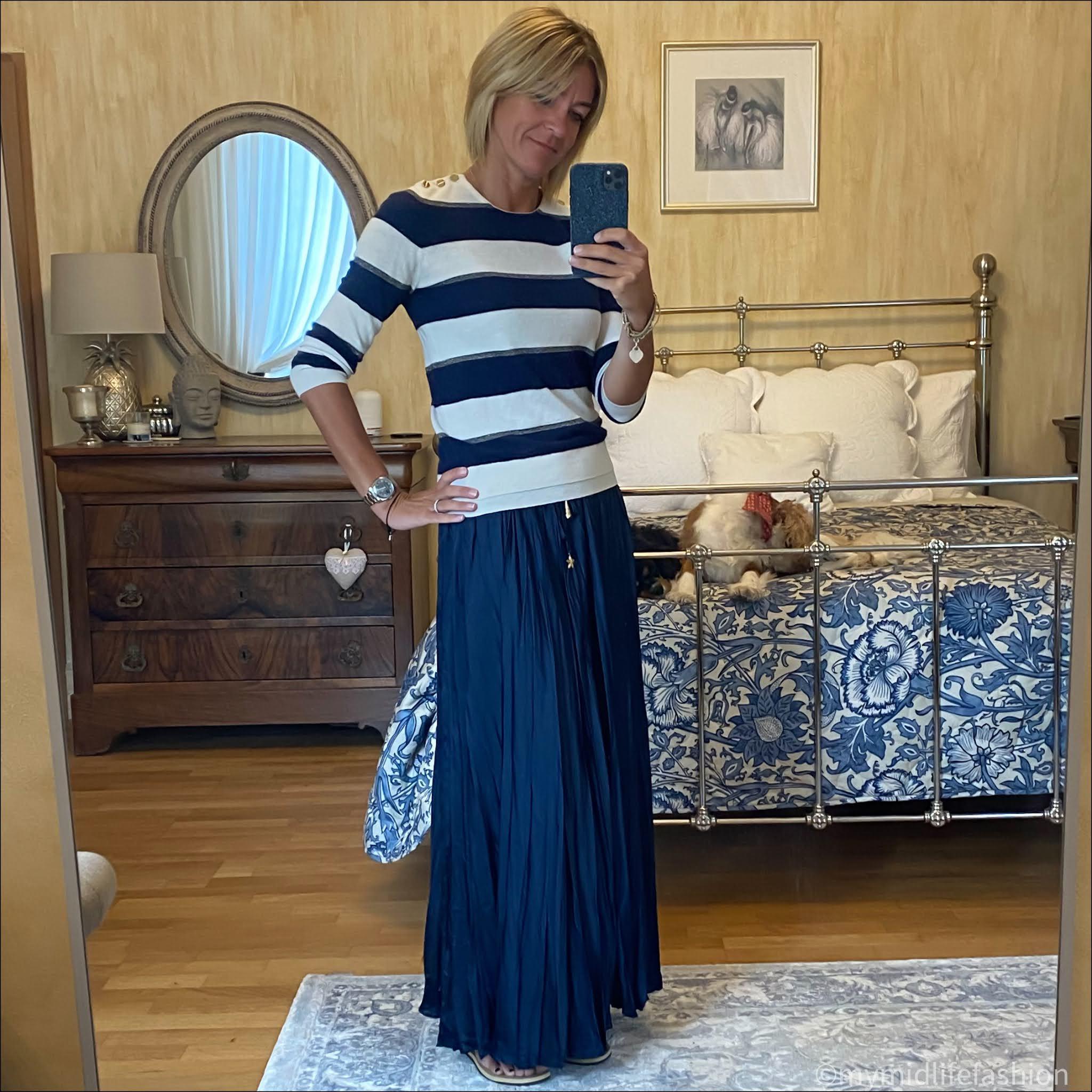 my midlife fashion, Joseph stripe cashmere jumper, zara wrinkled satin effect skirt, havaianas slim fit metallic flip flops