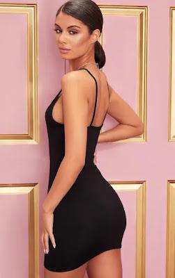 Basic Black Extreme Plunge strappy dress back side