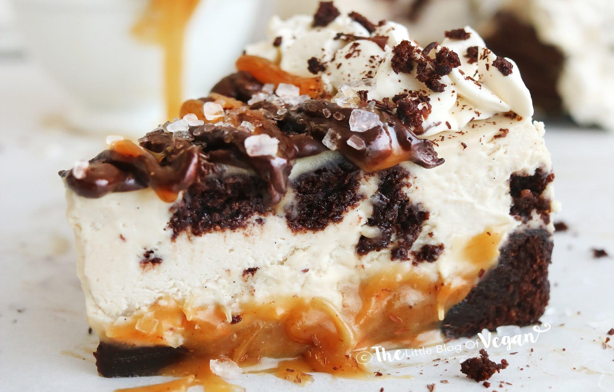 Vegan Caramel Brownie Cheesecake