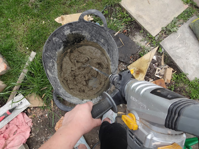 mixing mortar with a paddle