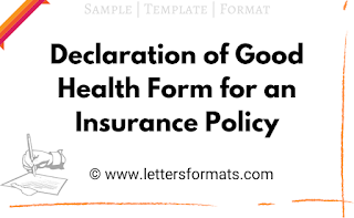 declaration of good health form