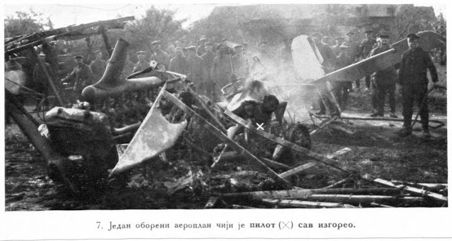 A shot down apparatus whose pilot was entirely burnt