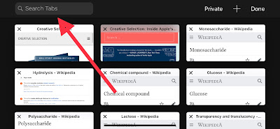 How to search tabs in safari iPhone browser