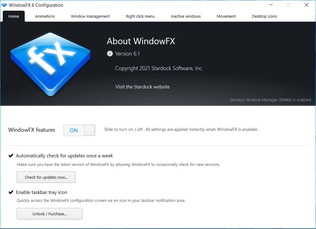 Stardock WindowFX Main Interface Screenshot
