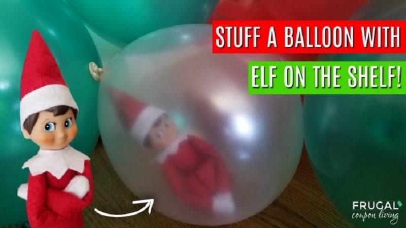 elf on the shelf stuck in a balloon