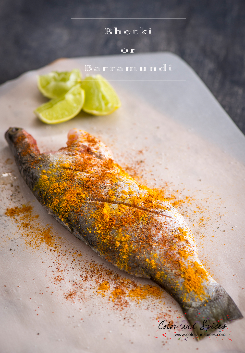 Color and spices tandoori spiced grilled whole fish for Grilled fish seasoning
