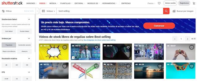 Vídeos más vendidos en Shutterstock