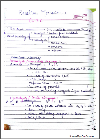 Chemistry Chapterwise Notes (Reaction Mechanism- I) : For JEE and NEET Exam PDF Book