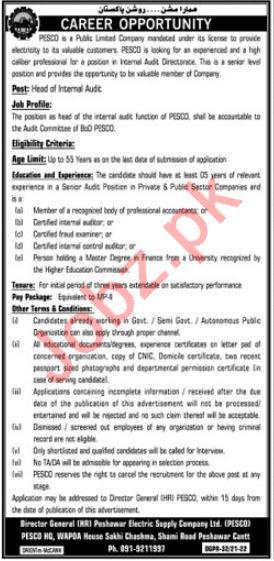 Jobs in Peshawar Electric Supply Company PESCO