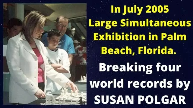 July 2005, Susan's chess exhibition in Palm Beach, Florida,