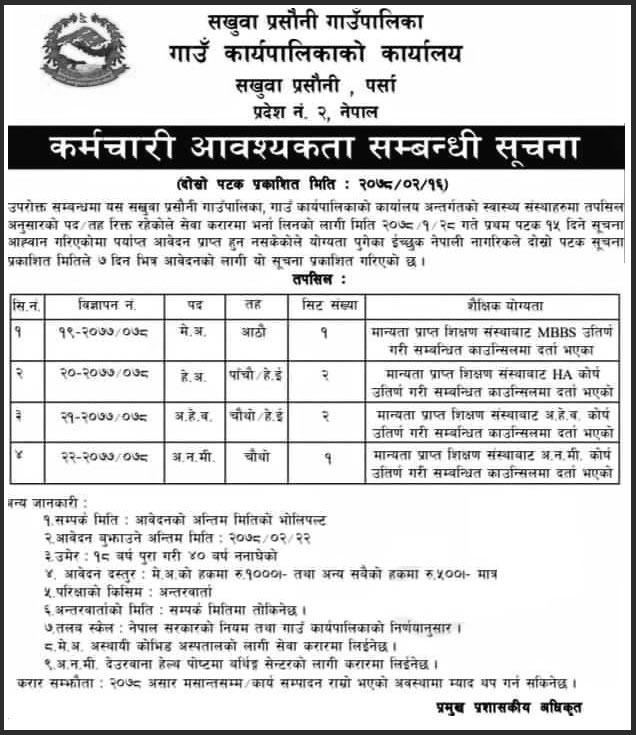 Sakhuwa Prasauni Rural Municipality  Job Vacancy for Medical Officer, HA, AHW, ANM