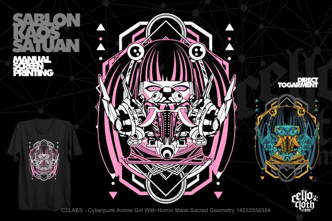 Cyberpunk Anime Girl With Horror Mask Sacred Geometry 14533556554