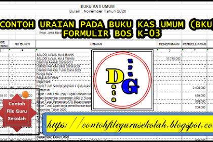 Contoh Uraian Buku Kas Umum (BKU)/ Formulir BOS K-3 Pada LPJ BOS