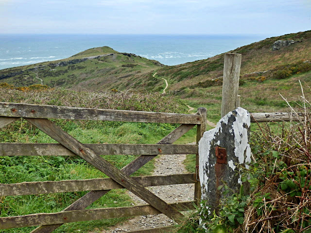 Gate and looking back at path to cliffs at Tintagel