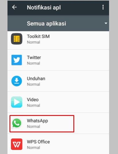 Cari dan Pilih WhatsApp di Setelan Notifikasi