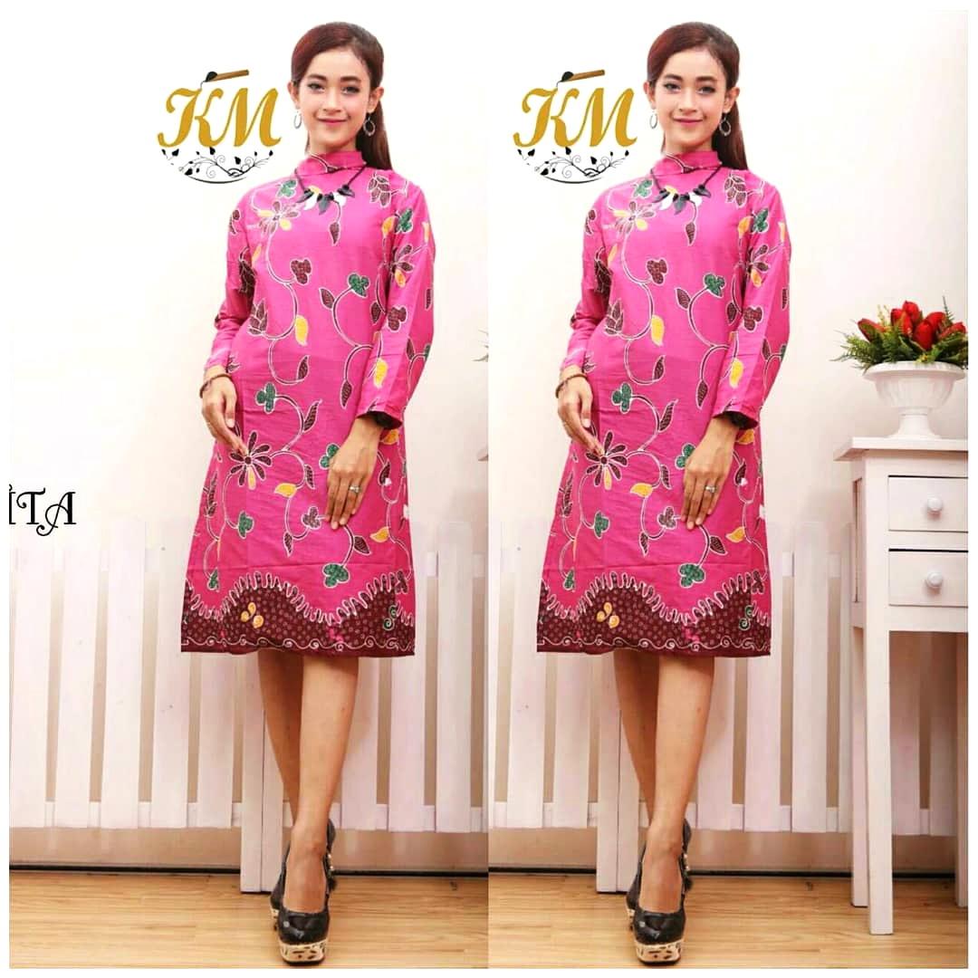 Model Baju Batik Wanita 2015: Model Gamis Batik Warna Pink