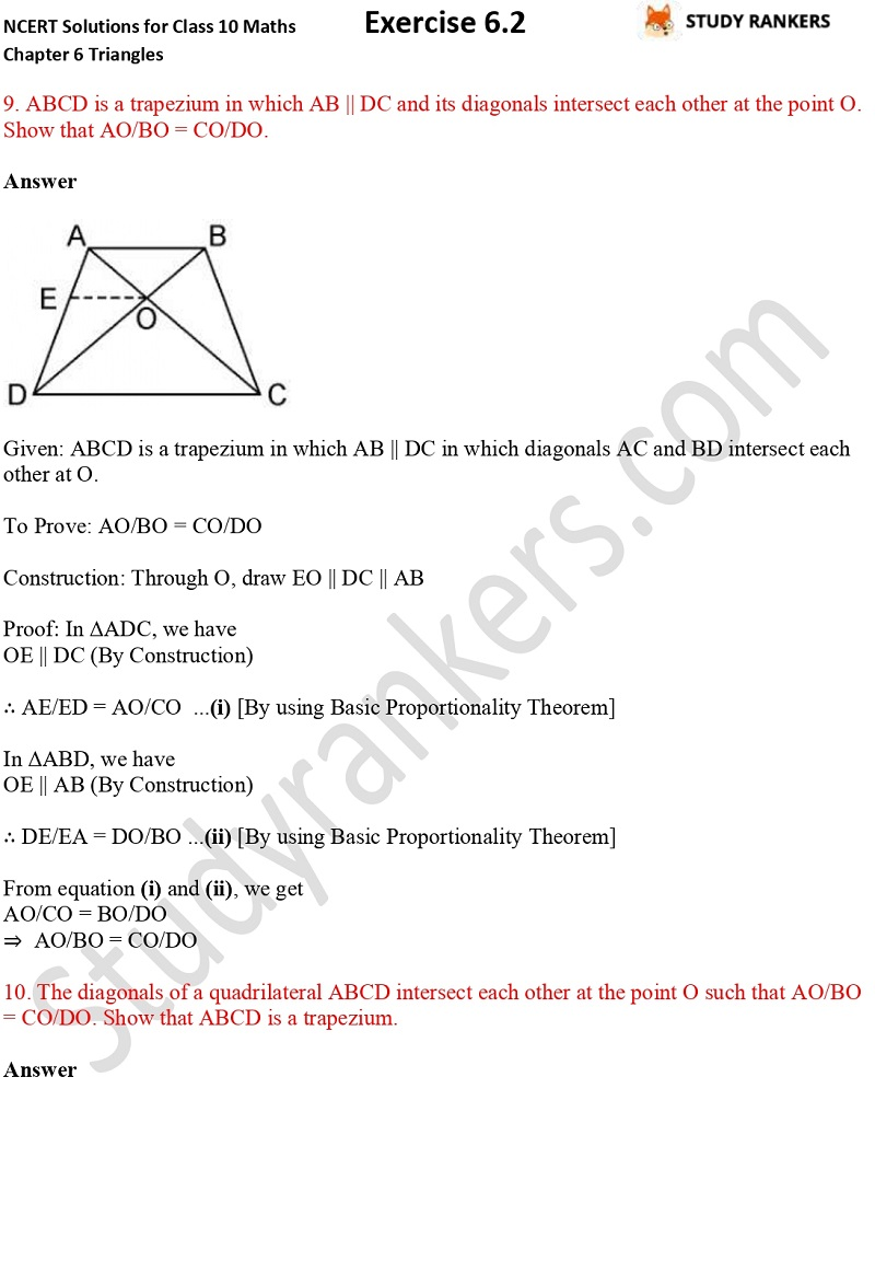 NCERT Solutions for Class 10 Maths Chapter 6 Triangles Exercise 6.2 Part 6