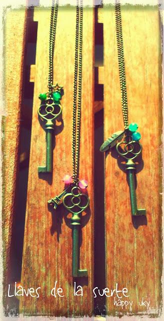 complementos, collares happy uky llaves vintage handmade barcelona