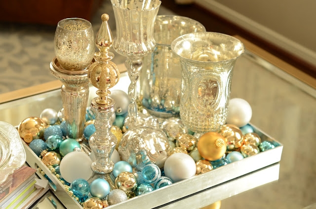 Christmas Ornament Decorations Holidays Ornaments Decor Dining Room Tray Centerpiece Mercury Glass Gold Blue White Silver