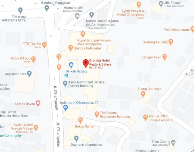Map Letak Hotel Grandia Bandung