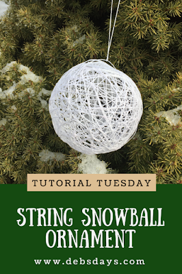 Homemade String Snowball Christmas Tree Ornament Craft Project