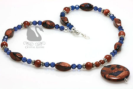 Blue Goldstone Sapphire Crystal Beaded Necklace (NB030)