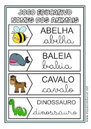 JOGO EDUCATIVO NOME DOS ANIMAIS DE ENCAIXE ATIVIDADE PARA ALFABETIZAÇÃO EM PDF GRÁTIS!