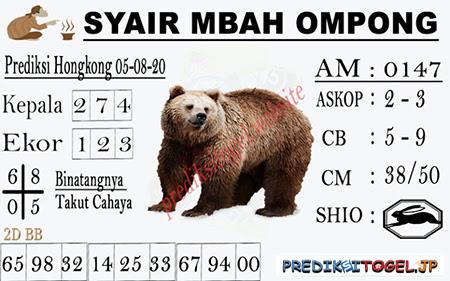Syair Mbah Ompong HK Rabu 05 Agustus 2020