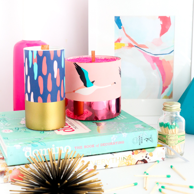DIY Pattern Wrapped Candles - DIY home decor - craft - wallpaper samples - target style - paper source - flamingo and confetti