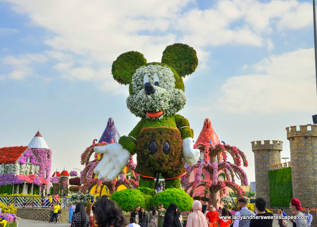 Mickey Mouse flower sculpture at Dubai Miracle Garden