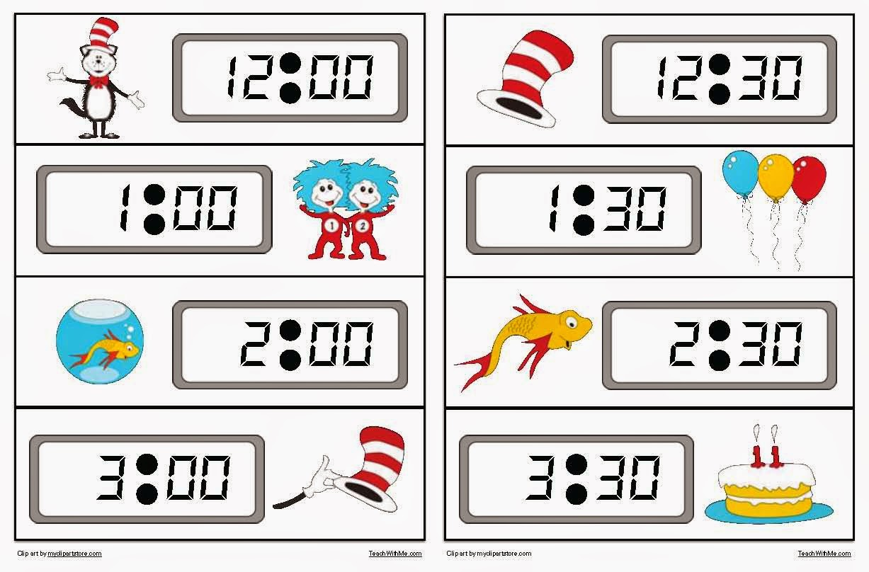 Classroom Freebies Seuss Themed Telling Time To The Hour Amp Half Hour Digital Ampog Time Packet