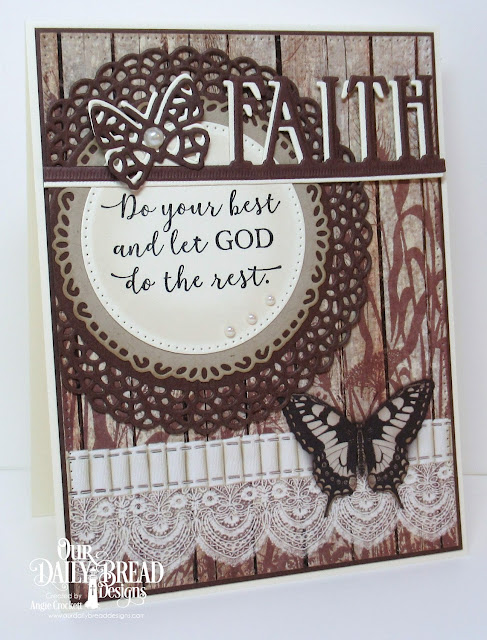 ODBD God Quotes 2, ODBD Custom Fancy Circles Dies, ODBD Custom Pierced Circles Dies, ODBD Custom Faith Border Die, ODBD Custom Bitty Butterflies Dies, ODBD Custom Pierced Rectangles Dies, ODBD Vintage Ephemera Paper Collection, Card Designer Angie Crockett