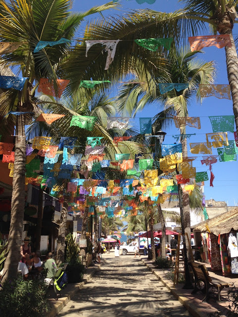 Colourful flags of Sayulita Mexico
