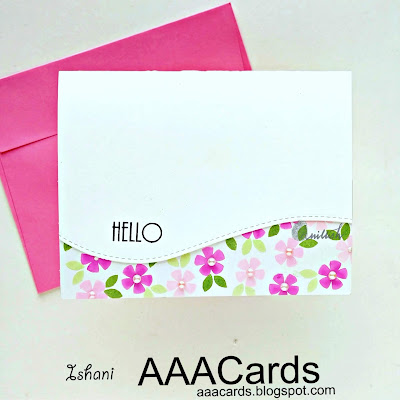 AAA Cards, Stamplorations, CAS card, die cutting, Quillish, Clean and simple floral card, repetitive stamping on cards, floral card by Ishani
