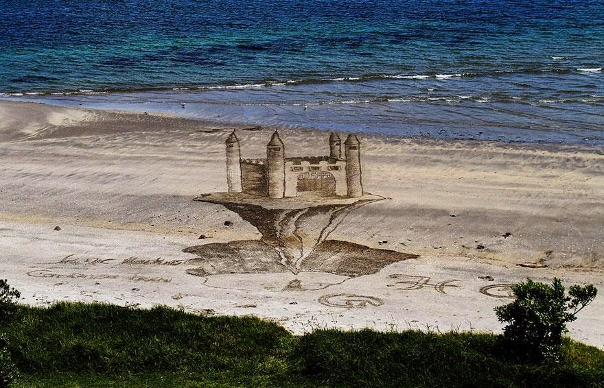 3d optical illusion sand art