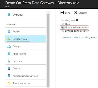 On Premises Data Gateway adding user as global admin