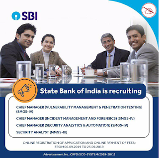 SBI | RECRUITMENT OF SPECIALIST CADRE OFFICER