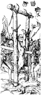 Illustration by Lucas Cranach the Elder of St. Simon sawn in two.