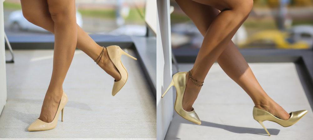 Pantofi bej, aurii cu toc inalt de ocazii ieftini toamna 2016